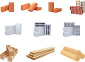 Set of construction materials icons