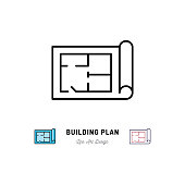 Building plan icon, Outline symbol of construction and repair. Vector flat illustration