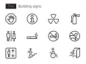 An outline vector icons set with Building signs and symbols