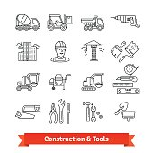 Building site engineering and tools set. Thin line art icons. Linear style illustrations isolated on white.