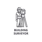 building surveyor vector line icon, sign, illustration on white background, editable strokes