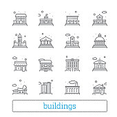 Building thin line icons. Public, government, education and personal houses. Modern linear vector design elements of various places for maps, web interface and mobile services. Isolated on white backg