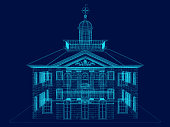blue wireframe of the building front view. 3D. vector illustration