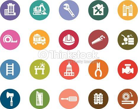 Edificios Y Construcción Iconos De Color Arte vectorial | Thinkstock