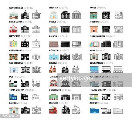 Gebäude cartoon Icons set : Vektorgrafik