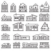 Buildings, home and house thin line icon set. Vector icons. eps10.