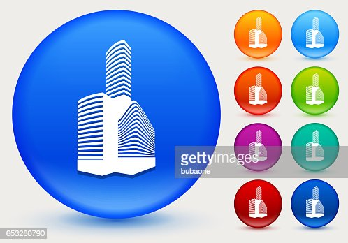 Buildings Icon on Shiny Color Circle Buttons : Vectorkunst