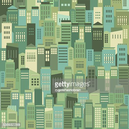 Buildings In The City Pattern Background : Vector Art