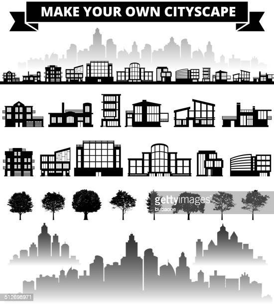 Buildings panoramic city skyline Background Set royalty free vector art