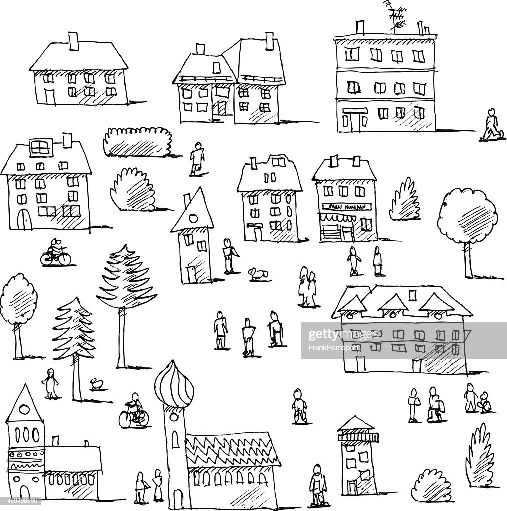 community professionals coloring pages | Buildings Trees People Urban Life Set Drawing Vector Art ...