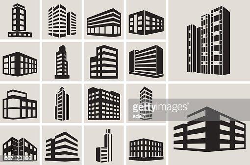 Gebäude Vektor-web-icons set : Vektorgrafik