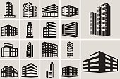 Buildings vector web icons set. Black and white silhouette icons