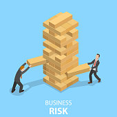 Business risks flat isometric vector concept. Two businessmen are playing the Tower game.
