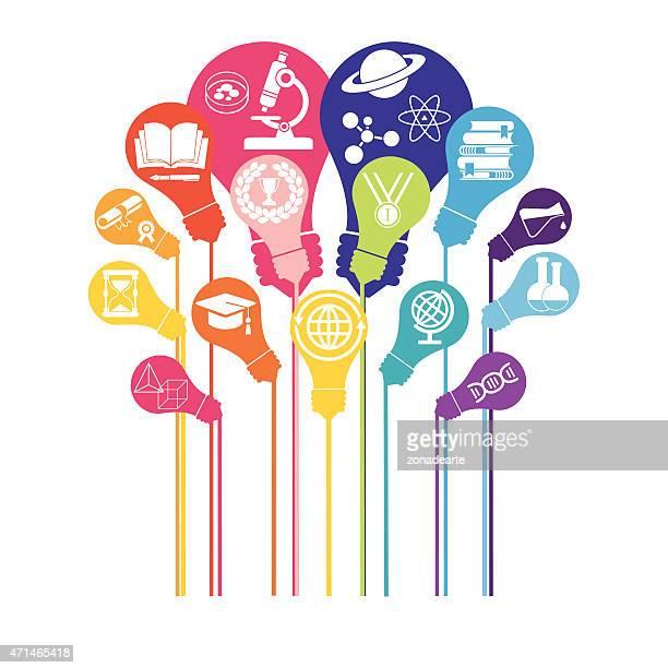 Glühbirne mit Symbole für Bildung und Technologie