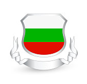 Bulgaria flag in shield and ribbon. Vector illustration.
