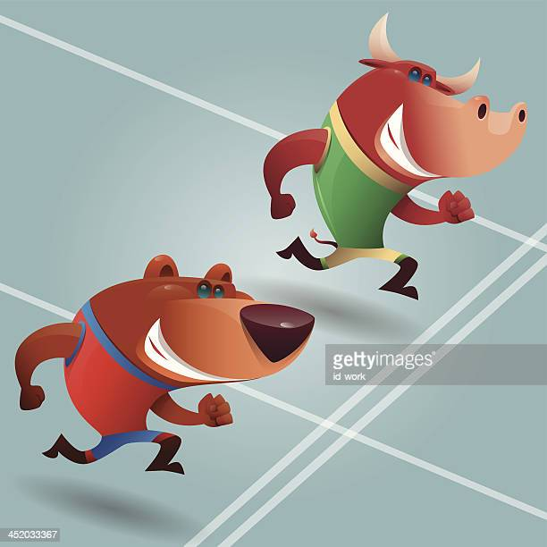 bull and bear running
