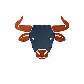 Bull head ancient emblem animal element. Heraldic vector design element. Retro style label, heraldry.