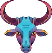 Bull head on a white background