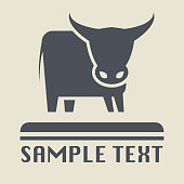 Bull or Cow icon or sign, vector illustration