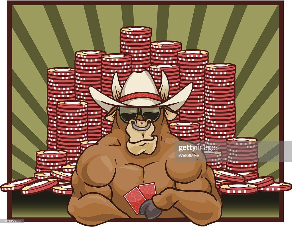 Bull jogar Pôquer : Arte vetorial