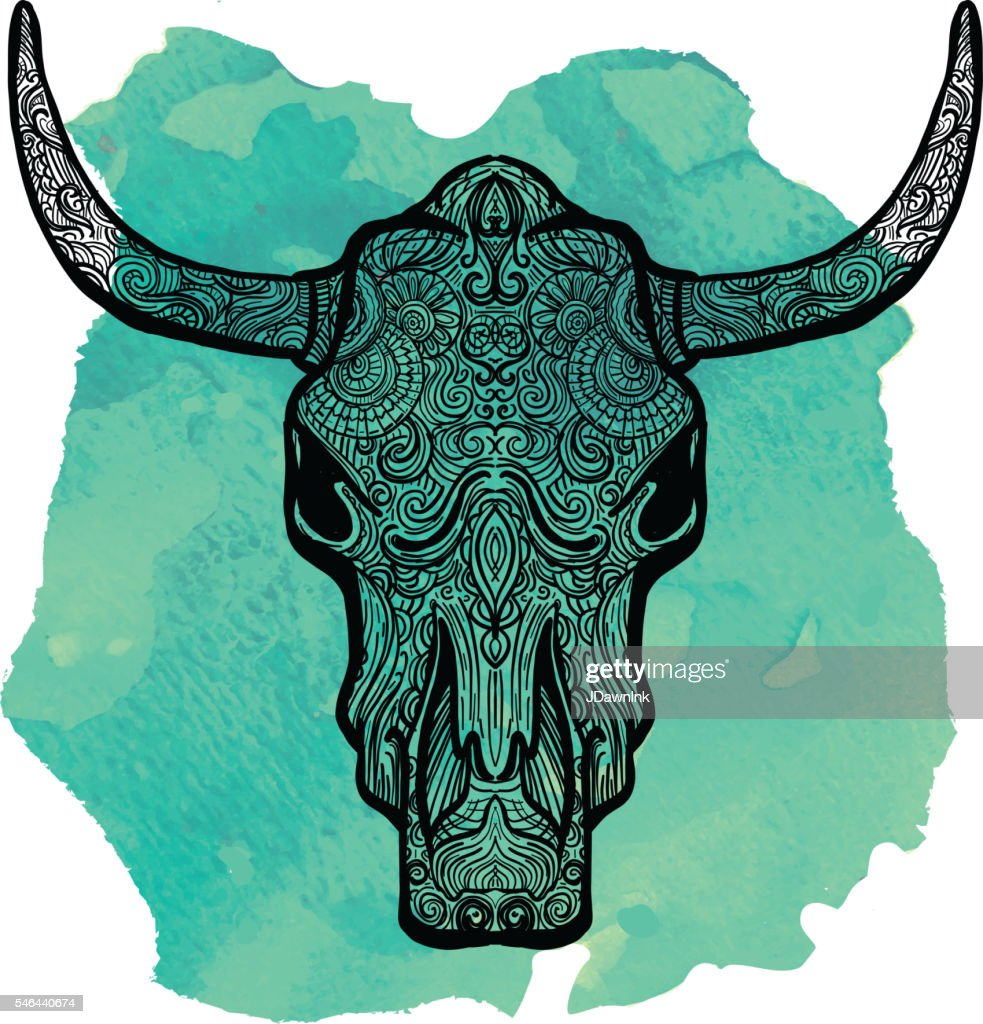 bull skull doodle drawing hand drawn on watercolor texture vector