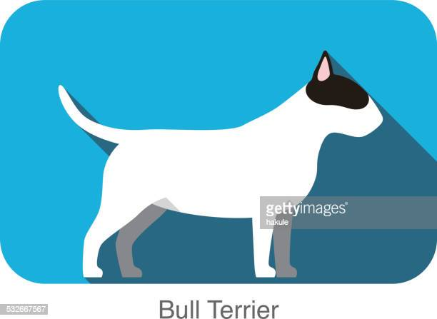 Bull Terrier dog breed flat icon design