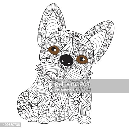 Chiot Bulldog Coloriage Page Clipart Vectoriel Thinkstock