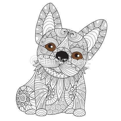 Bulldog Cachorro Página Para Colorear Arte vectorial | Thinkstock