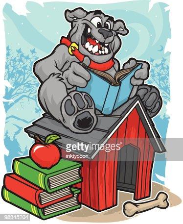 Bulldog Reading : Vector Art