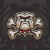 Bulldog with bones mascot  design. Sport type illustration. Eps10 vector.