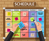 Bulletin board hanging on brick wall full of tasks on sticky note cards and hands. Development, team work, agenda, schedule, to do list. Vector illustration in flat style