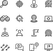 Bullseye, customer focus and targeting line vector icons. Success bullseye, arrow accuracy in dartboard illustration