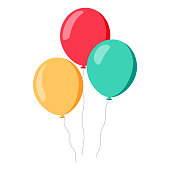 Bunch of balloons in cartoon flat style isolated on white background. Vector set