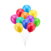 Bundle colored balloons isolated. A bundle of colored balloons isolated for designers and illustrators. Bunch of balls in the form of a vector illustration