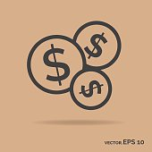 Bundle money outline icon black color isolated on brown background