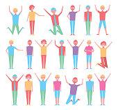 bundle of people celebration characters vector illustration design