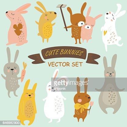 bunniesvectorset : stock vector
