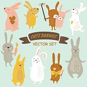 Vector set of cute bunnies in cartoon style