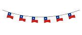 Bunting decoration in colors of Chile flag. Garland, pennants on a rope for party, carnival, festival, celebration. For National Day of Chile on August 18 on white background
