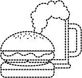 burger and beer glass fast food beverage vector illustration