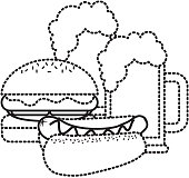 burger and french fries fast food vector illustration