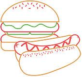 burger and hot dog fast food diet vector illustration