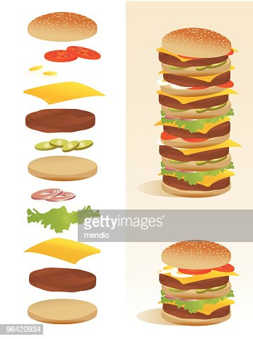 Burger deconstruction - All ingredients separated : Vector Art