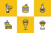 Burger line art icon set. Fast food delivery logo  concept. Vector illustration