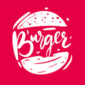 Burger sketch hand drawn Vector Illustration isolated on pink background.