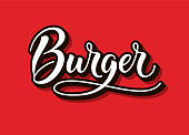 Burger  , text and word. Calligraphy and script typography in vintage american script style. Burger isolated. Simple symbol and modern sign for fast food. Vector illustration. EPS 10