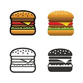 Burger vector cartoon, colored, contour and silhouette styles icon set. Tasty fast food unhealthy meal. Isolated dishes on white background.