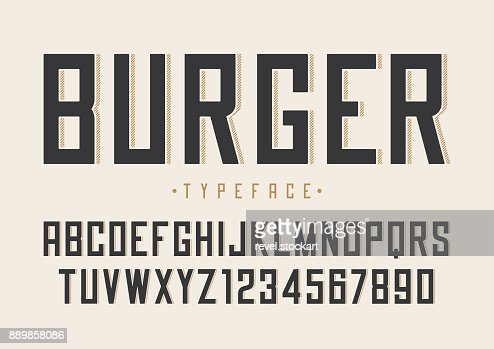 Burger vector retro regular font design, alphabet, typeface, typ : Vector Art