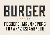 Burger vector retro regular font design, alphabet, typeface, typography