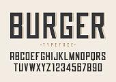Burger vector retro regular font design, alphabet, typeface, typography